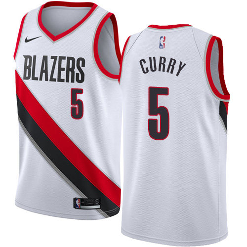 #5 Nike Swingman Seth Curry Women's White NBA Jersey - Portland Trail Blazers Association Edition