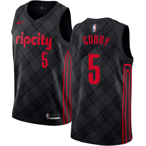 #5 Nike Authentic Seth Curry Men's Black NBA Jersey - Portland Trail Blazers City Edition