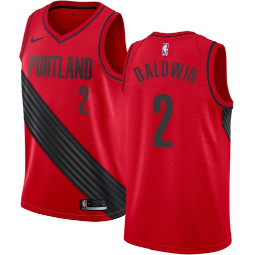 #2 Nike Authentic Wade Baldwin Men's Red NBA Jersey - Portland Trail Blazers Statement Edition