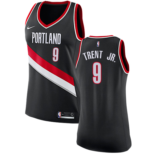 #9 Nike Authentic Gary Trent Jr. Women's Black NBA Jersey - Portland Trail Blazers Icon Edition