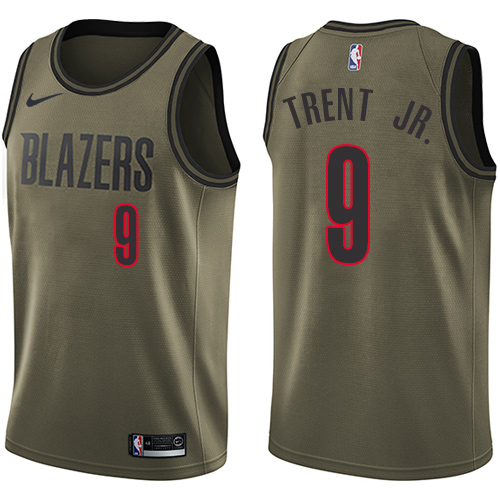 #9 Nike Swingman Gary Trent Jr. Men's Green NBA Jersey - Portland Trail Blazers Salute to Service