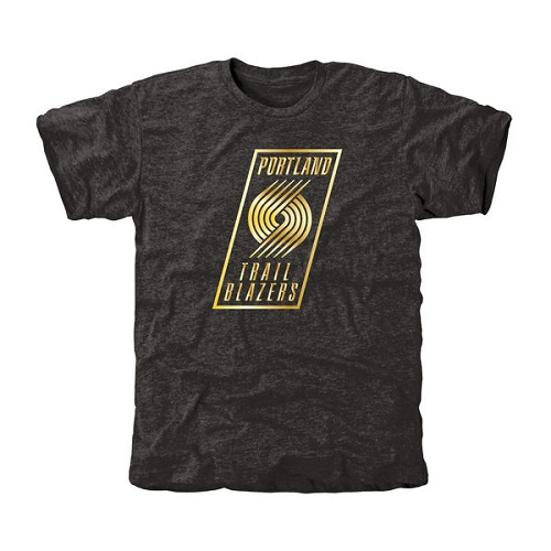 NBA Men's Portland Trail Blazers Gold Collection Tri-Blend T-Shirt - Black