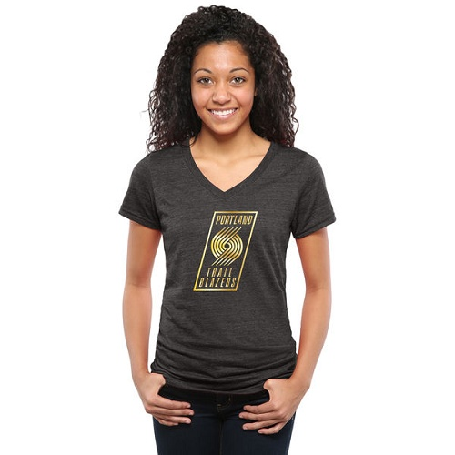 NBA Portland Trail Blazers Women's Gold Collection V-Neck Tri-Blend T-Shirt - Black